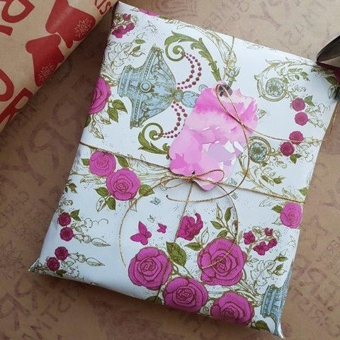 Scarf wrapped in Floral Gift wrap