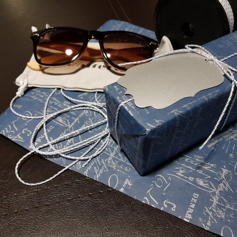 Gift Journal #12 Sunglasses wrapped and unwrapped - vintage blue gift wrap