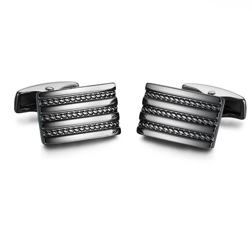 Cufflinks South Africa | Classic | Gun Black Striped | Unique Gift Ideas for Him | for Dad | for Men | for Males | for Husband | for Brother | for Boyfriend | for Grandad | for Friends | for Birthday | Gifting Made Simple