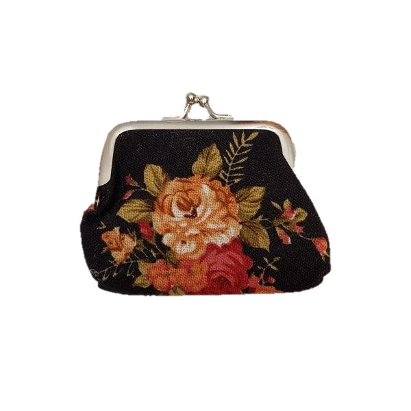 Metallic Mermaid | Floral Coin Purse Black Front | Gift Ideas For Her | Gifting Made Simple