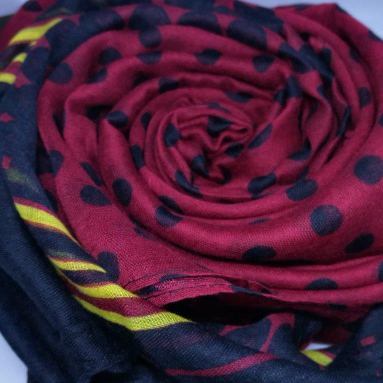 Deep red scarf, dotted & striped