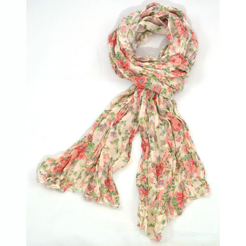 Floral Scarf - Peach, green & coral Gifts Gift Ideas Gifting Made Simple