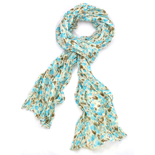 Floral Scarf - Turquoise, brown & beige