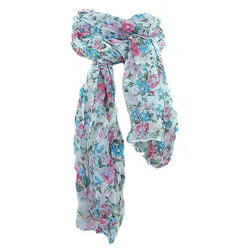 Floral Scarf - Turquoise, pink & green