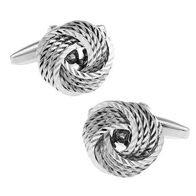Knotted cufflinks - Streaked silver