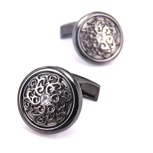Cufflinks - Laser engraved design - black - wedding anniversary