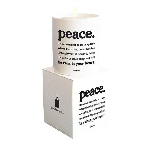 Quotable peace candle Gift ideas Gifting Gift shop