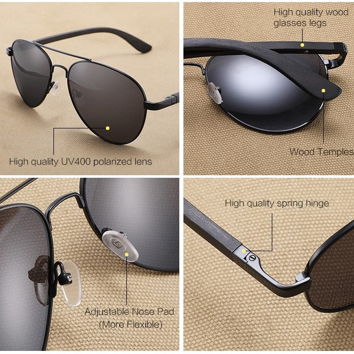 Ralferty Wood Sunglasses | Pilot Black | Details | Gift Ideas For Him | For Men | For Boyfriend | For Dad | For Husband