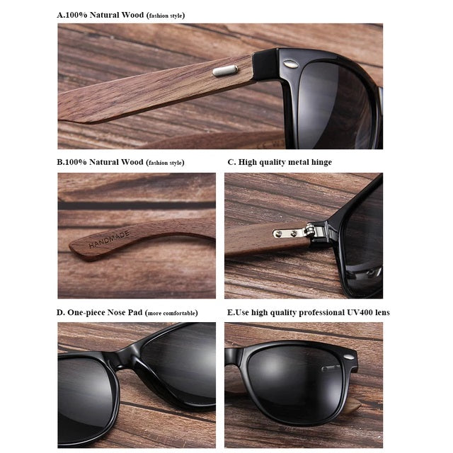 Ralferty Wood Sunglasses | Retro Brown | Details | Gift Ideas For Him | For Men | For Boyfriend | For Dad | For Husband