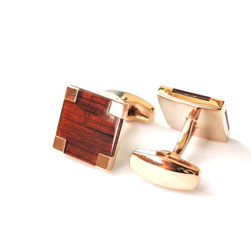 Cufflinks South Africa | Classic | Wood Rose Gold | Unique Gift Ideas for Him | for Dad | for Men | for Males | for Husband | for Brother | for Boyfriend | for Grandad | for Friends | for Birthday | Gifting Made Simple