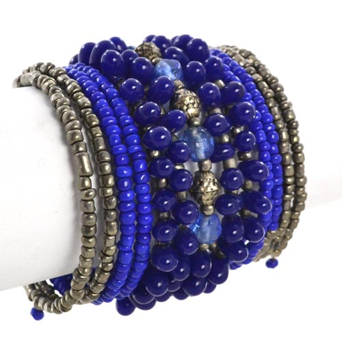 Metallic Mermaid Navy & Brass Beaded Bracelet Gifts Gift Ideas Gifting Made Simple
