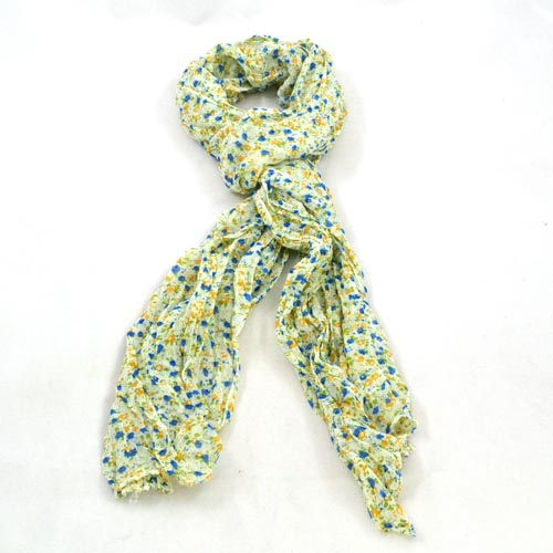 Floral Scarf - Blue, orange & green