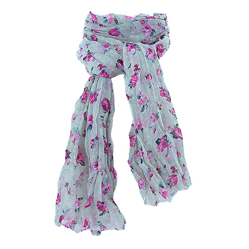 Floral Scarf - Berry & sage
