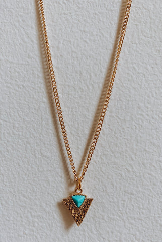Gold and Turquoise Arrowhead Necklace