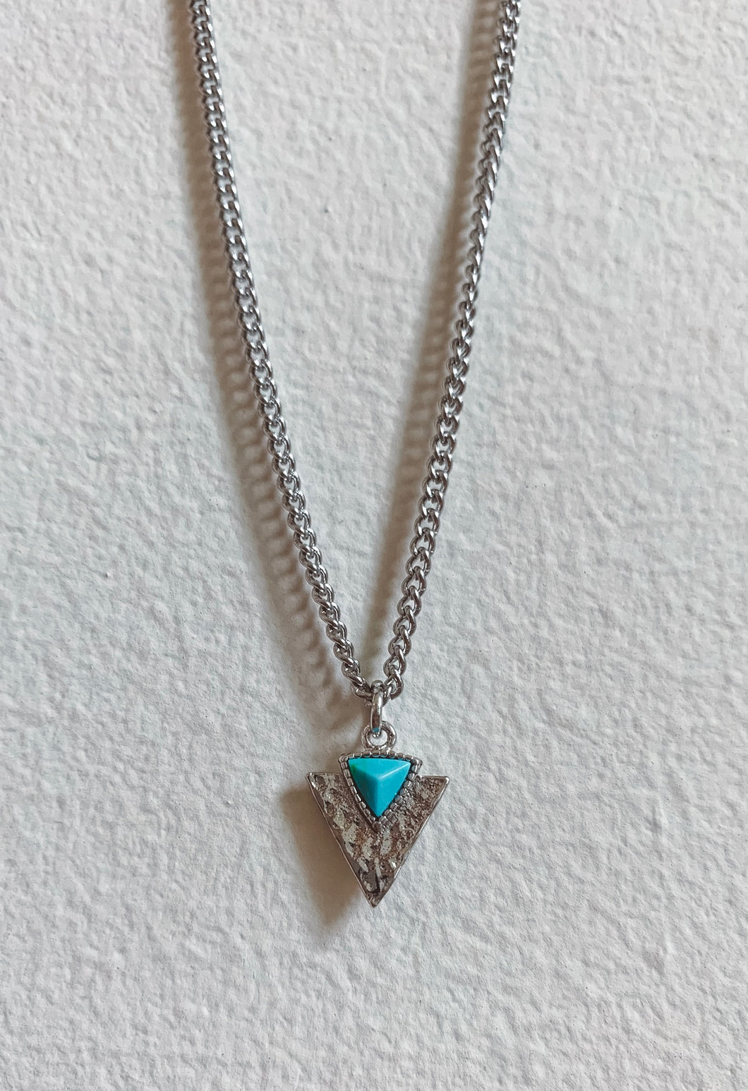 Silver and Turquoise Arrowhead Necklace