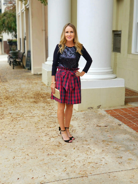 The Derby Skirt in Christmas plaid