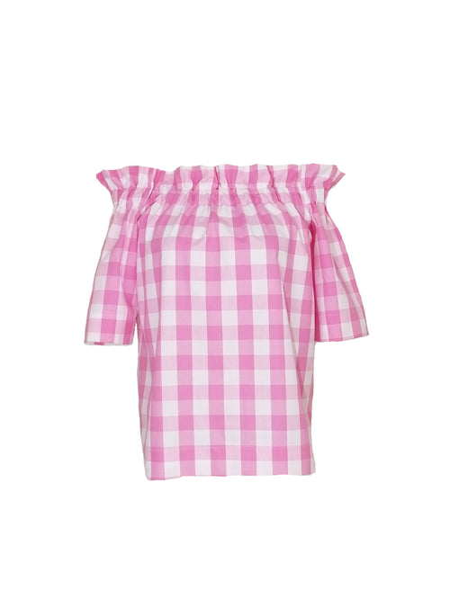 "The Derby top in Pink 1"" Gingham"