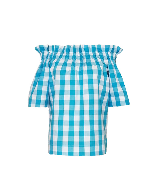 "The Derby top in Turquoise 1"" Gingham"