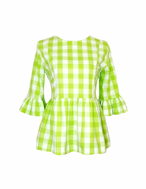 "The Carolina Top in Lime 1"" gingham"