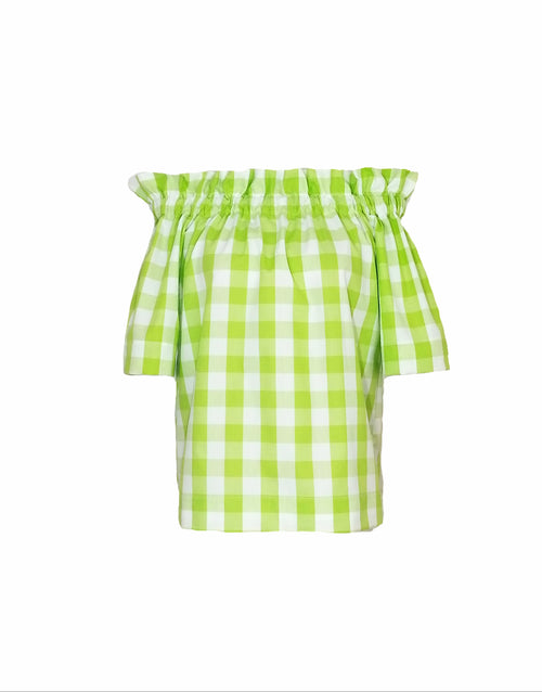 "The Derby top in Lime 1"" Gingham"