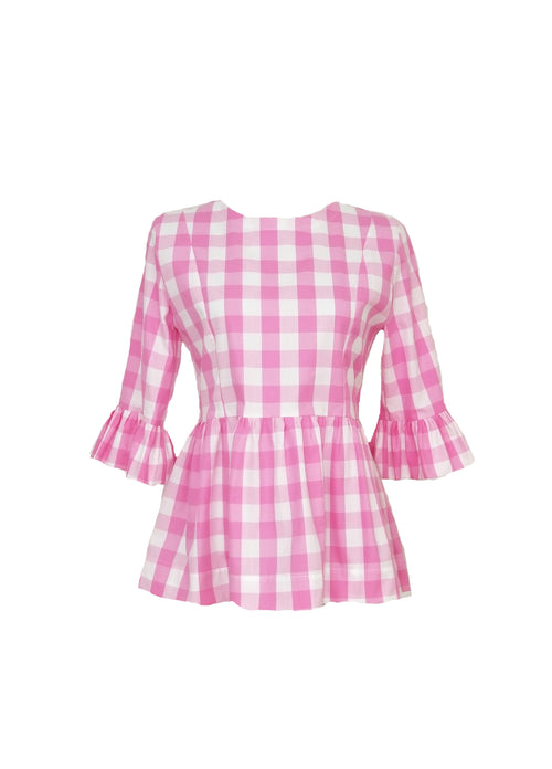 "The Carolina Top in Pink 1"" gingham"