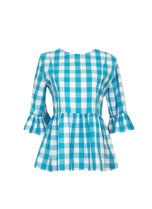 "The Carolina Top in Turquoise 1"" gingham"