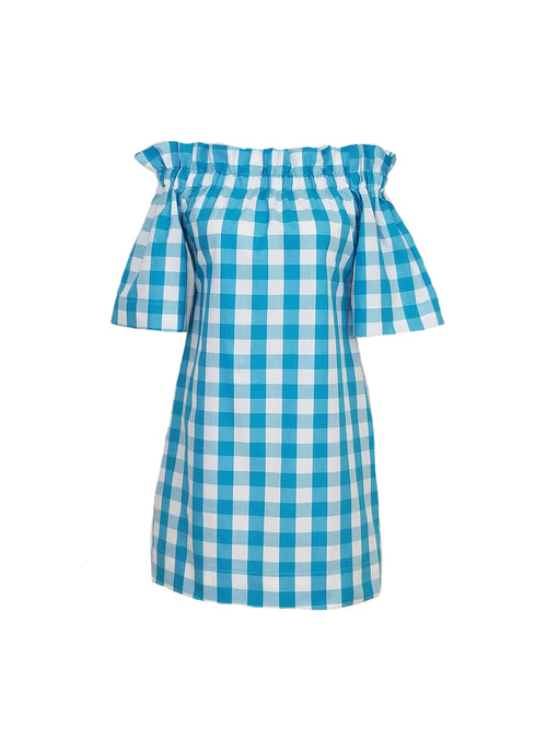 "The Derby Dress in Turquoise 1"" gingham"