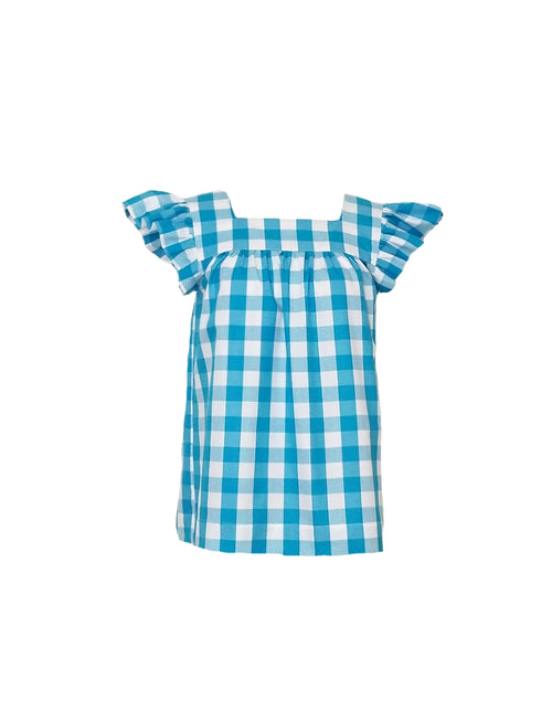 "The Low Country Top in Turquoise 1"" gingham"