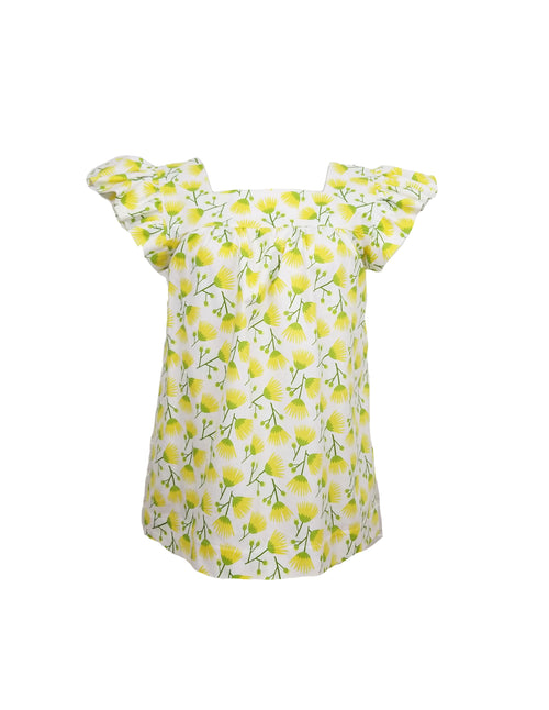 The Low Country Top in Yellow fan flower
