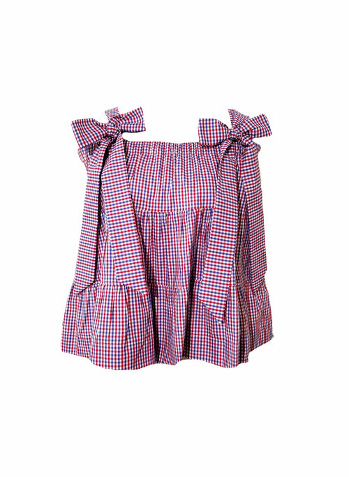 The Florence Top in red, white, & blue gingham check