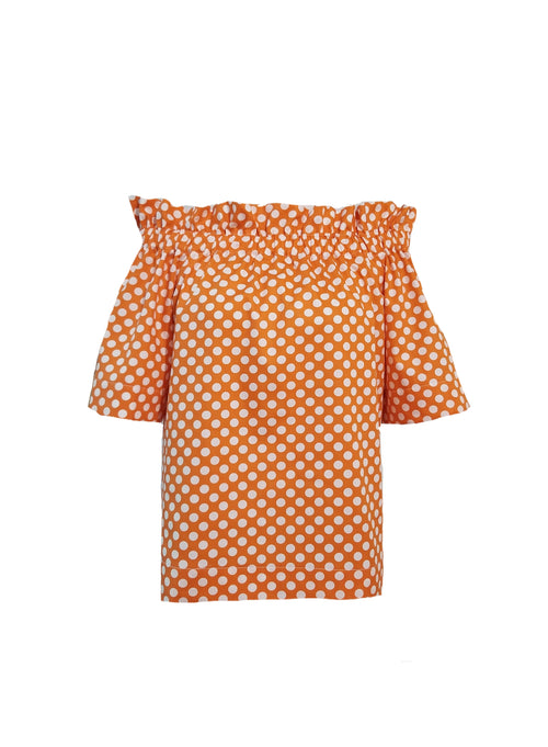 The Derby top in Orange Polka Dots