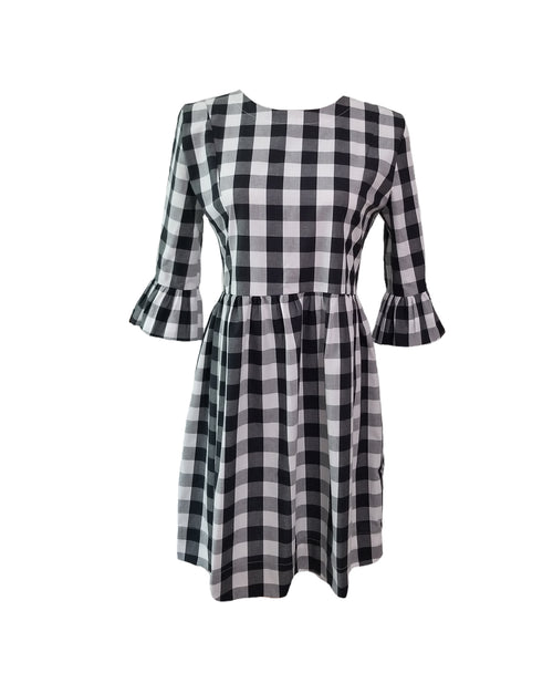 "The Carolina Dress in Black 1"" gingham"