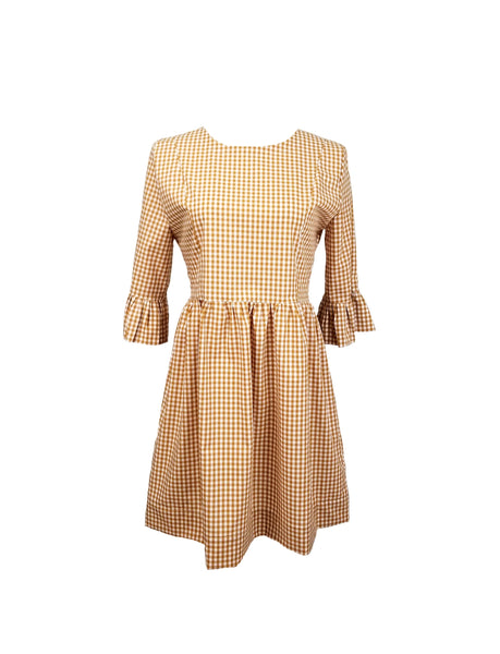 "The Carolina Dress in Butterscotch 1/4"" gingham"