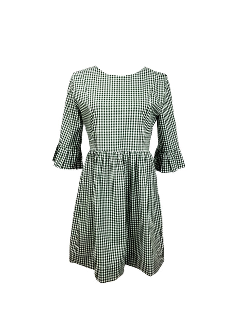 "The Carolina Dress in Dark green 1/4"" gingham"