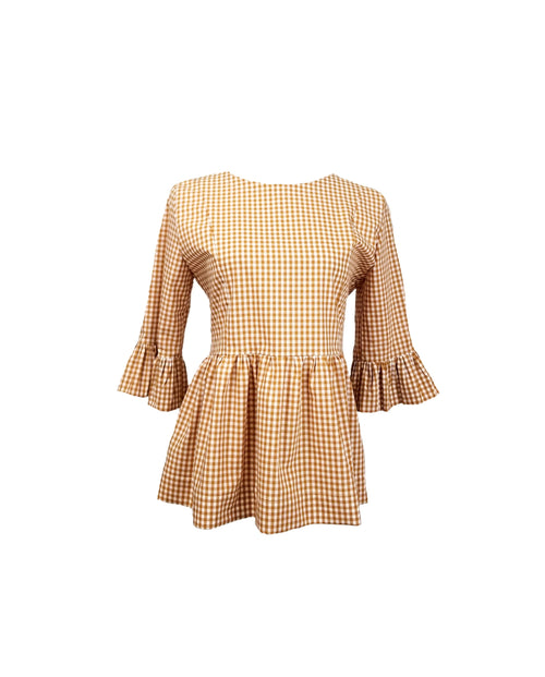 "The Carolina Top in Butterscotch 1/4"" gingham"