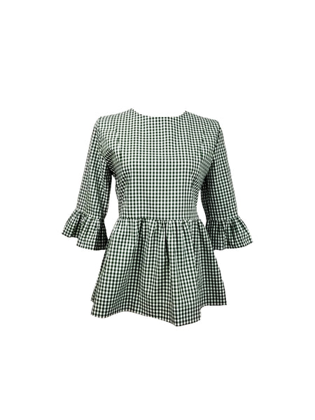 "The Carolina Top in Dark green 1/4"" gingham"