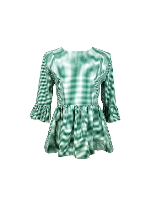 The Carolina Top in Kelly green mini gingham