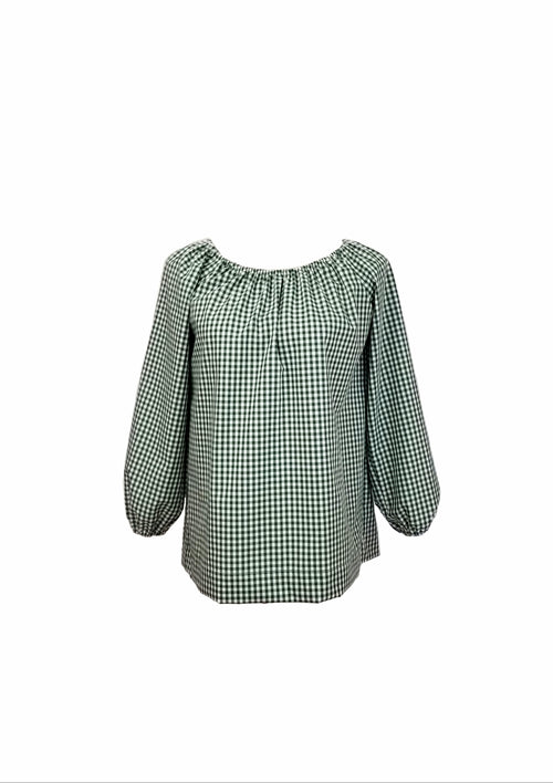 "The Hampton Top in Dark green 1/4"" gingham"