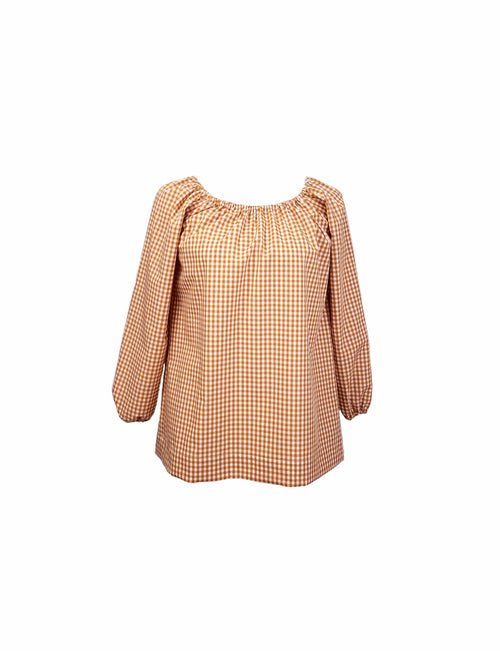"The Hampton Top in Butterscotch 1/4"" gingham"