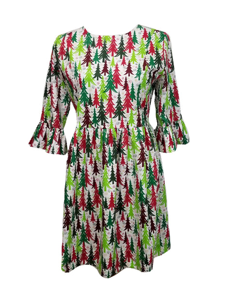 The Carolina Dress in Christmas Trees