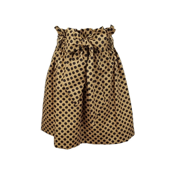 The Derby Skirt in Gold & black polka dots