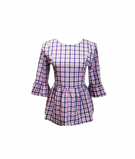 The Low Country Top in Pink gingham seersucker