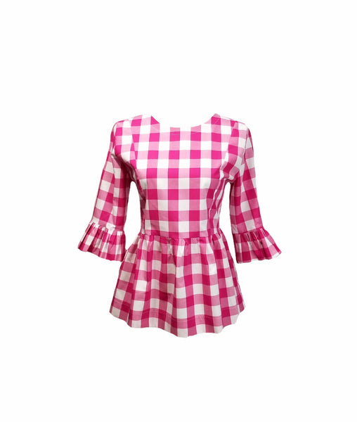 "The Carolina Top in Hot Pink 1"" gingham"