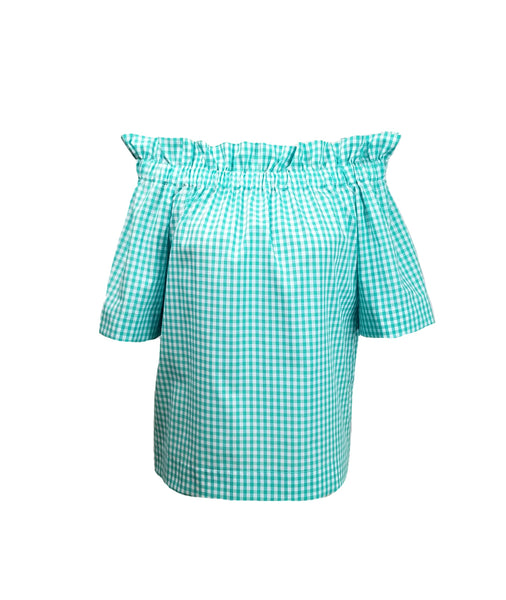"The Derby top in Aqua 1/4"" Gingham"