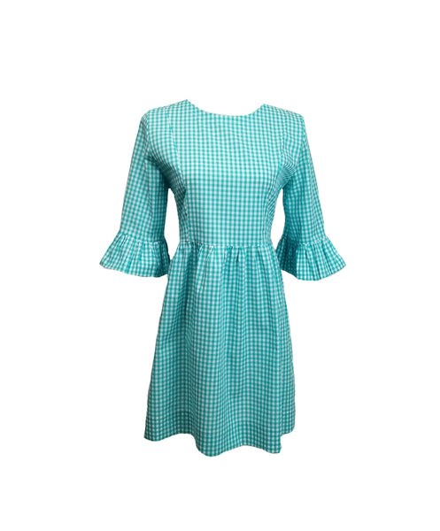 The Carolina Dress in Aqua gingham