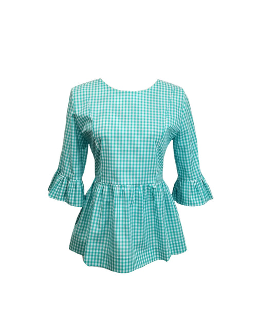 "The Carolina Top in Aqua 1/4"" gingham"
