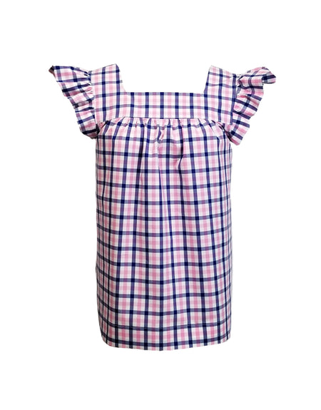 The Carolina Top in Pink & Navy gingham