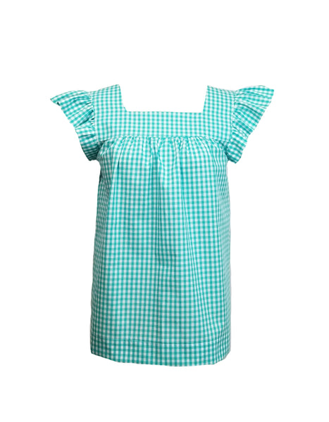The Low Country Top in Aqua gingham