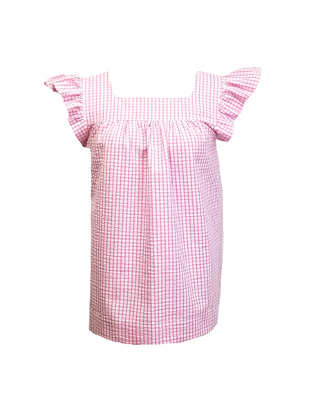 The Derby top in Pink Gingham Seersucker