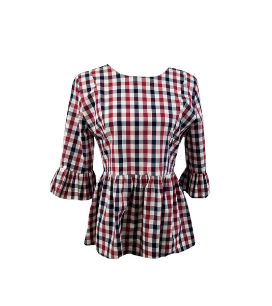 "The Carolina Top in red, white, & navy 1/2"" gingham"